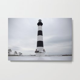Outer Banks Lighthouse - Snowy Bodie Island Light Metal Print