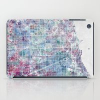 chicago map iPad Cases featuring Chicago map by MapMapMaps.Watercolors