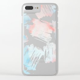 Pastel coral teal modern watercolor paint brushstrokes Clear iPhone Case