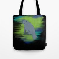 manatee Tote Bags featuring manatee by 💐JadeRose