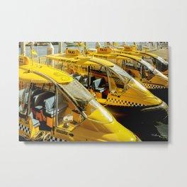 Yellow Taxi Boats Metal Print