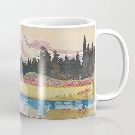 Mount Rainier Vintage Beautiful Japanese Woodblock Print Hiroshi Yoshida Kaffeebecher