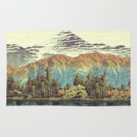 mountains Area & Throw Rugs featuring The Unknown Hills in Kamakura by Kijiermono