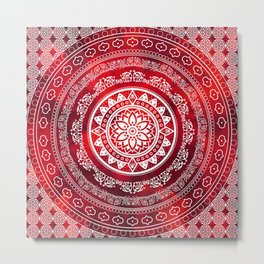 'Scarlet Destiny' Red & White Flower Of Life Boho Mandala Design Metal Print