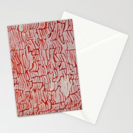 Orange/Red and White Abstract Texture Painting Stationery Cards
