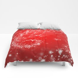 Elegant red white abstract Christmas pattern Comforters