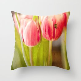 The Tulip and the Ladybug Throw Pillow