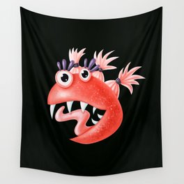 Funny Monster Crazy Silly Creature With Ponytails Wall Tapestry