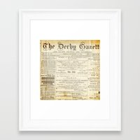 newspaper Framed Art Prints featuring Newspaper by Caroline K
