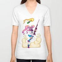 magical girl V-neck T-shirts featuring Riot Magical Girl by Thais Magnta Canha