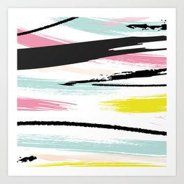 Retro Brush Strokes Art Print
