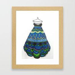 Peacock Inspired Lace Dress Framed Art Print