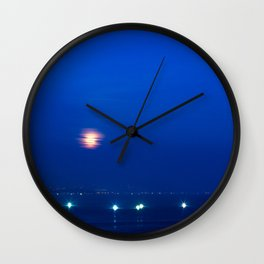 Boats on Dume Cove (Supermoon) Wall Clock