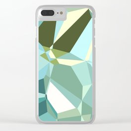 Polygon Sea Blues Clear iPhone Case