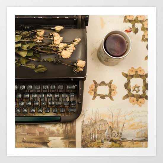 Little roses over an old typewriter and tea (Retro and Vintage Still Life Photography) Art Print