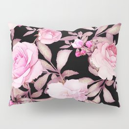 FLORAL PINK & BLACK Pillow Sham