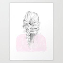 Braid in pink Art Print