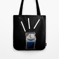cigarettes Tote Bags featuring Cigarettes by Courtney Decker