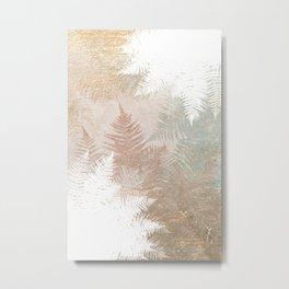 Fern Snowflakes - Golden, bronze & Sage Metal Print