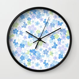 cherry blossom - blue Wall Clock