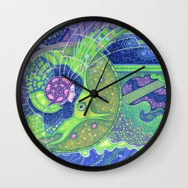 Dream of the fullmoon, surreal art, underwater, mermaid & fish Wall Clock