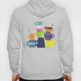 Coffee And Tea Cups And Mugs Stacked High Hoody