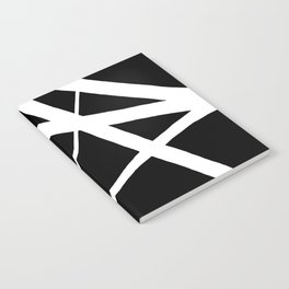 Geometric Line Abstract - Black White Notebook