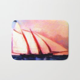 Vintage Clipper Retro Nautical Painting Bath Mat