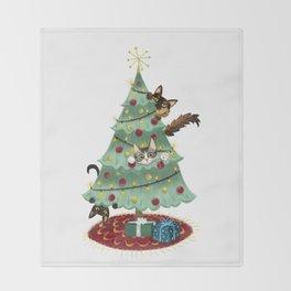 Kitty Christmas Throw Blanket