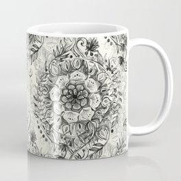 Messy Boho Floral in Charcoal and Cream  Coffee Mug