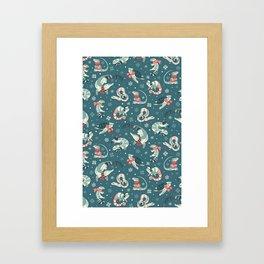 Winter herps in dark blue Framed Art Print