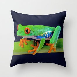 TREE FROG ON BAMBOO Throw Pillow