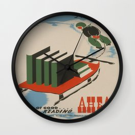 Vintage poster -  A Year of Good Reading Ahead Wall Clock