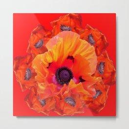 MODERN  RED-ORANGE POPPY FLOWERS  PATTERNS Metal Print