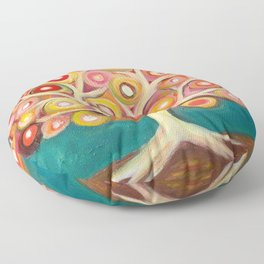 Tree of life with colorful abstract circles Floor Pillow