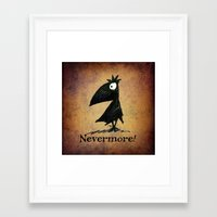 edgar allen poe Framed Art Prints featuring Nevermore! The Raven - Edgar Allen Poe by Paul Stickland for StrangeStore
