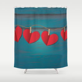 Red paper hearts tie to a rope Shower Curtain