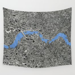 Map of London Thames Drawing Wall Tapestry