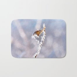 Close-up of branch and leaf with hoarfrost. Bath Mat