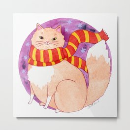 Brave Wizard Cat in a Scarf Metal Print