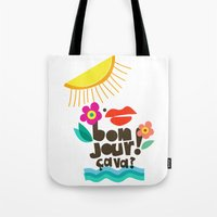bonjour Tote Bags featuring Bonjour! by Daily Thoughts
