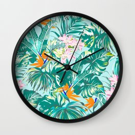 Bird of Paradise Hawaii Rainforest Tropical Leaves Pastels Wall Clock