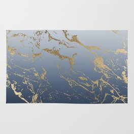 Modern grey navy blue ombre gold marble pattern Rug