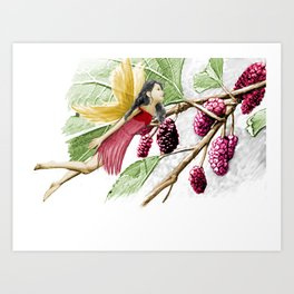 Red Mulberry Tree Fairy With Berries Art Print