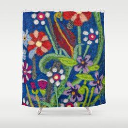 Cozy Felted Wool Flower Garden Shower Curtain