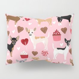 Chihuahua cute love hearts dog breed custom pet portraits dog lover valentines day gifts Pillow Sham