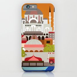 Istanbul, Turkey - Skyline Illustration by Loose Petals iPhone Case