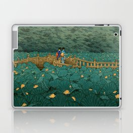 Vintage Japanese Woodblock Print Kawase Hasui Japanese Children Lotus Flowers Garden Wooden Bridge Laptop & iPad Skin