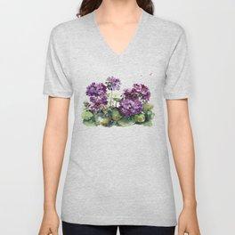 Purple violet pelargonium geranium flowers watercolor Unisex V-Neck