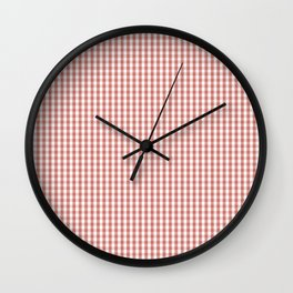 Small Camellia Pink and White Gingham Check Plaid Wall Clock